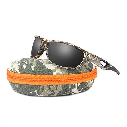- Polarized Sunglasses for Men and Women - Sports Brand Camo Tr90 Unbreakable Frame Dark Gray Lens Youth Baseball Sun Glasses for Hunting Boating UV 400