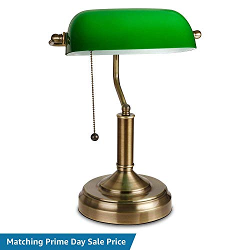 TORCHSTAR Traditional Banker's Lamp, Antique Style Emerald Green Glass Desk Light Fixture, Satin Brass Finish, Metal Beaded Pull Cord Switch Attached - Green Glass Shade Bankers Lamp