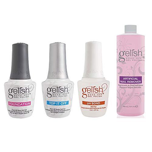 Gelish Terrific Trio Essentials Collection Soak Off Gel Nail Polish Kit, 15 mLNEW Gelish Artificial Refill Soak Off Gel Nail Polish Remover 480mL (16 fl -