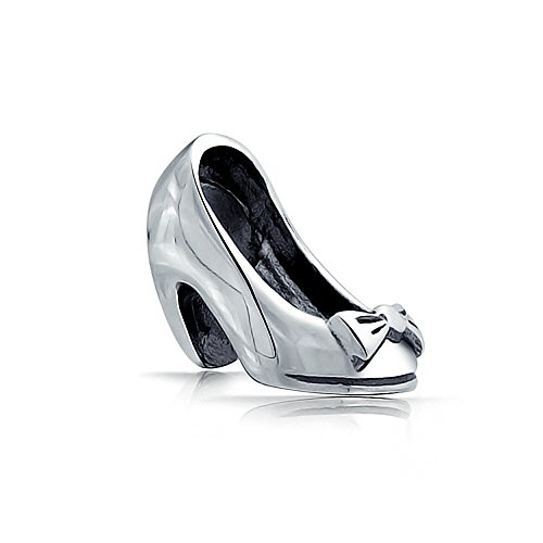 - High Heel Shoe Charm with 925 Sterling Silver bow Bead
