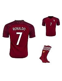 #7 Ronaldo Portugal National Home Kid Soccer Jersey & Matching Shorts & Socks Set