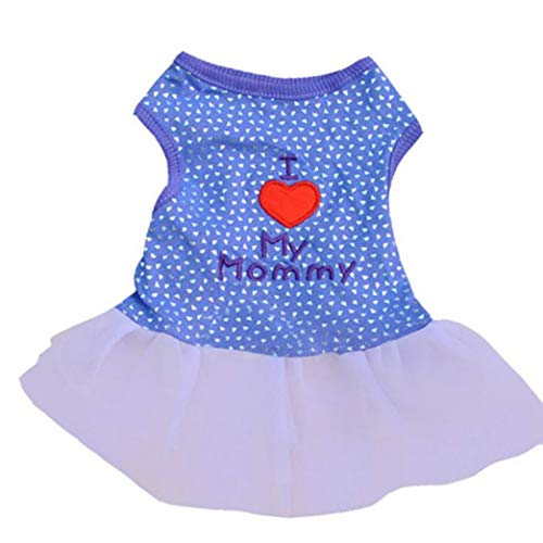 YOTATO Leopard Pattern/I Love My Mommy Printed Dog Dress Small Pet Cat Tutu Lace Skirt Puppy Summer Princess Clothes