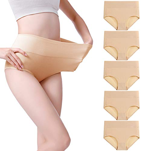 wirarpa Women's 5 Pack Cotton Underwear High Waisted Full Coverage Brief Panties Ladies Comfortable Underpants Beige, Size 4 ()
