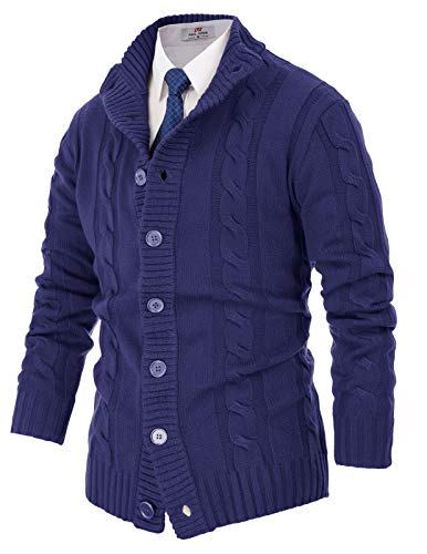 PJ PAUL JONES Men's Long Sleeve Mid-Weight Shawl Collar Button Placket Cardigan Sweaters(M,Blue)