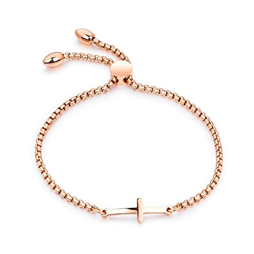Elegant Value Sideways Cross Bracelet Adjustable Gold Plated - Unique Gift for Baptism, Christening, Christmas, Birthday for Teen, Girl, Kid, Baby. Holy Religious Christian, Catholic Gift (Rose Gold)