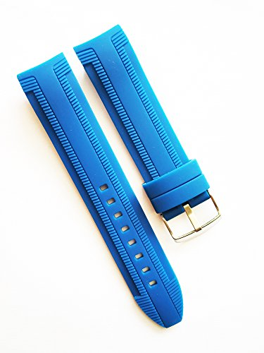 22mm Blue Waterproof Silicone Rubber Curved End Dive Watch Band Strap