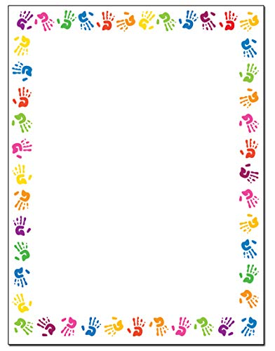 Childrens Hands Border Stationery - 8.5 x 11-60 Letterhead Sheets - ColorfulBorder Letterhead (Hands) -