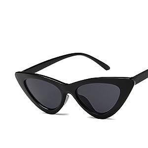 EYESWING New Fashion Vintage Sunglasses for Women Retro Cat Eye Triangle Eyewear Small Plastic Frame (Bright Black Frame/Gray Lens)