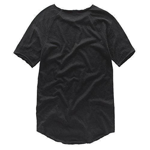 Moomphya-Curved-Hem-Men-T-Shirt-Crew-Neck-Solid-Hip-hop-Swag-Basic-Top-Tees
