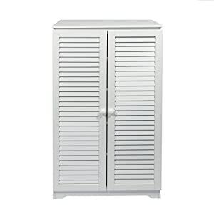 woodluv Free Standing Tall Hallway Bedroom Bathroom Shoe Rack Louvered Doors Cabinet, (L) 60 x (W) 32 x 100(H) cms-White…