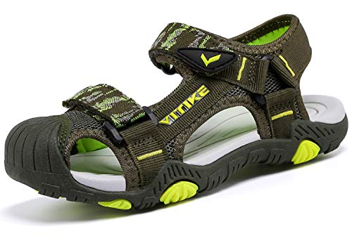 Littleplum Boys Girls Outdoor Sport Closed-Toe Sandals Kids Breathable Mesh Water Athletic Sandals Shoes Green/Yellow