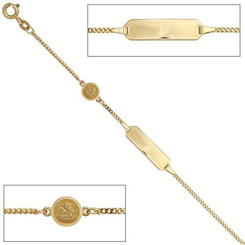 Bracelet gourmette en or jaune 585 en forme d'ange pour enfant old 14 cm