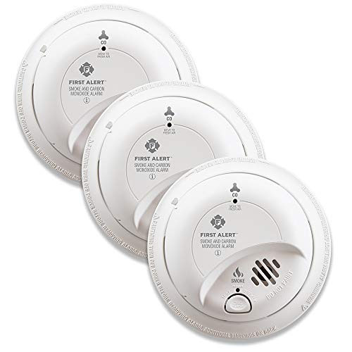 First Alert BRK SC9120B-3 Hardwired Smoke and Carbon Monoxide (CO) Detector with Battery Backup, 3 Pack