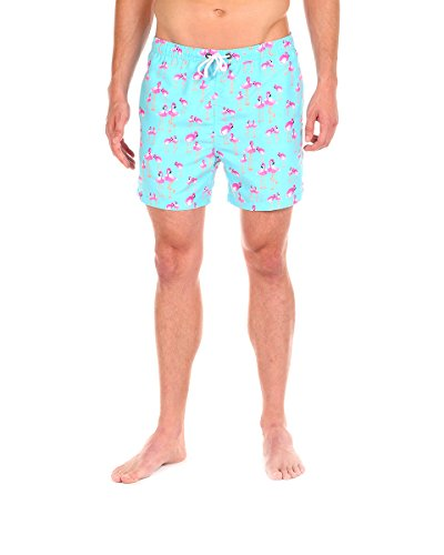 Men's Swim Short - The Bromingos Pattern Swim Trunk by Cabana Bro, Medium
