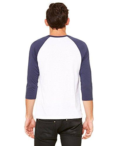 Bella 3/4 Sleeve T-shirt - Bella + Canvas Unisex 3/4-Sleeve Baseball T-Shirt, Large, WHITE/NAVY