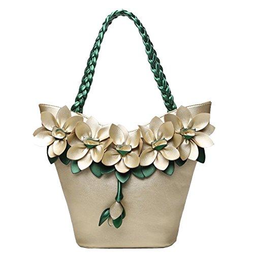 Femme Capacité Lightgold Sac Fleur Pour Couture Mode Tisser Main Élégant Sac Automne à Bandoulière à Grande AJLBT Sac wOSTEqx