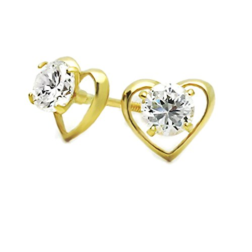 14K Yellow Gold Heart Screwback Stud Earrings