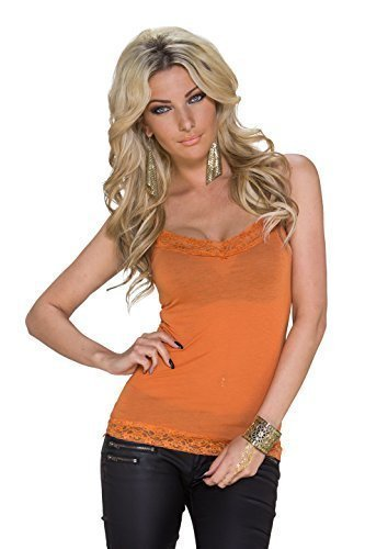 Leopard & WRL - Camiseta sin mangas - Top corto - Básico - Sin mangas - para mujer naranja