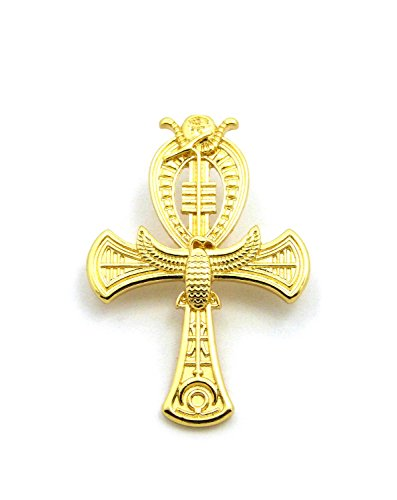 Ma'at Costume (Egyptian Horus Bird, Maat, Nefertiti, Ankh Piece Brooches Pins Accessory in Gold Tone (Ankh))