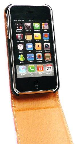 Emartbuy ® Apple Iphone 3G / 3Gs Premium Pu Leather Case Tapa / Portada / Bolsa Lunares Hot Pink / White Y Protector De Pantalla