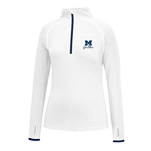 J America NCAA Michigan Wolverines Women's Script Logo Power Through Poly 1/2 Zip Sweater, Large, White/Navy