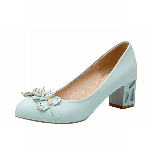 Carolbar Donna Dolce Strass Bordato Decorativo Bordo Caramelle Colori Lolita Barbie Stile Grosso Tacco Medio Abito Scarpe Scarpe Blu
