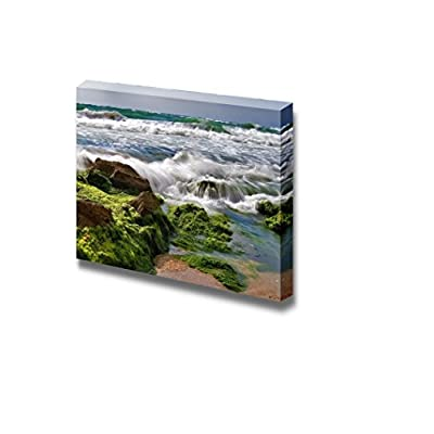 Canvas Prints Wall Art - Sea Surf/Wave is Washing Backward Stones Nature Beauty | Modern Wall Decor/Home Decoration Stretched Gallery Canvas Wrap Giclee Print & Ready to Hang - 16