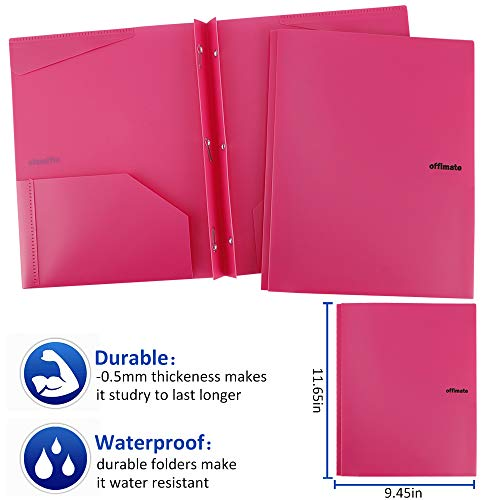 Folders, Plastic Folders with Pockets and Prongs, Heavy Duty Folders with Brads, 12Pack by Rolandal (Image #3)