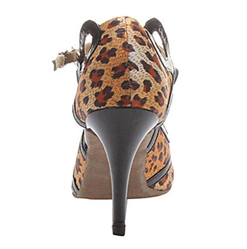 Miyoopark Conçu Par Des Femmes De Mode Satin Chaussures De Danse Latine Léopard