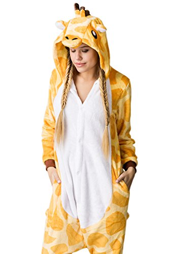 Nothing But Love Adult Giraffe Onesie Pajamas Kigurumi Animal Cosplay Costume One Piece Fleece Pjs (M, Yellow, White) by Nothing But Love (Image #2)