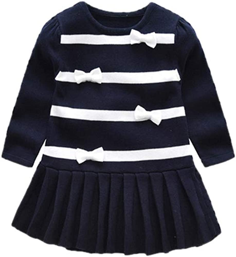 Hwafan Toddler Baby Girls Knit Swing Dress Princess Bows Pullover Sweater Pleated Skirt
