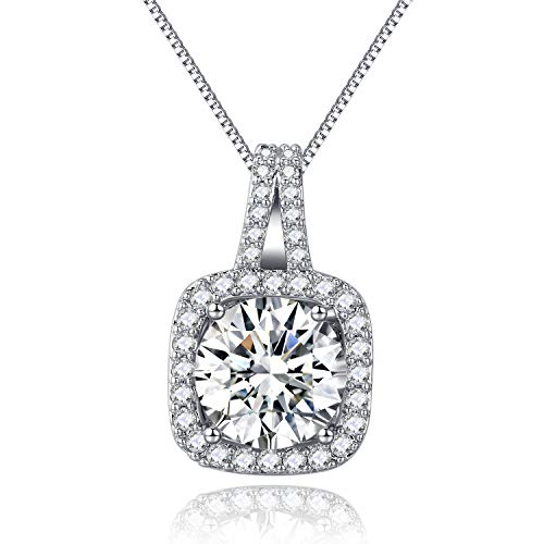 SBLING Platinum Plated Cubic Zirconia Cushion Shape Halo Pendant Necklace- Gifts for - Necklace Zirconia Key Cubic