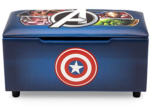 Marvel Avengers Upholstered Storage Bench for Kids | Perfect for Bedrooms/Playrooms/Living Rooms | Features Fun Graphics of Hulk, Iron Man, Captain America, Thor ()