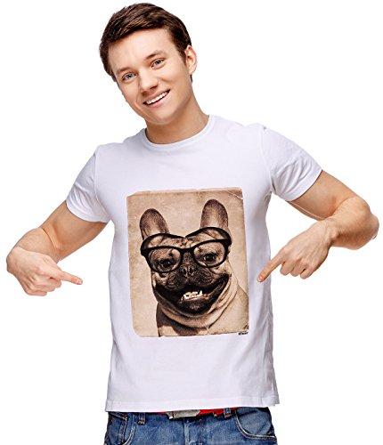 Youth T-shirt Shot (Retreez Vintage Funny Nerdy French Bulldog Mugshot Graphic Printed Unisex Men / Boys / Women T-shirt Tee - White - X-Small)