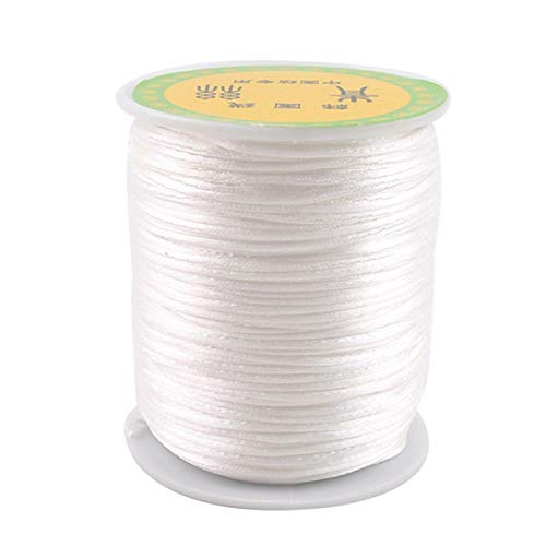 HAO JIE White 1mm 75m Satin Rattail Cord for Baby Teething Necklace DIY Craft Supplies Wooden Toys
