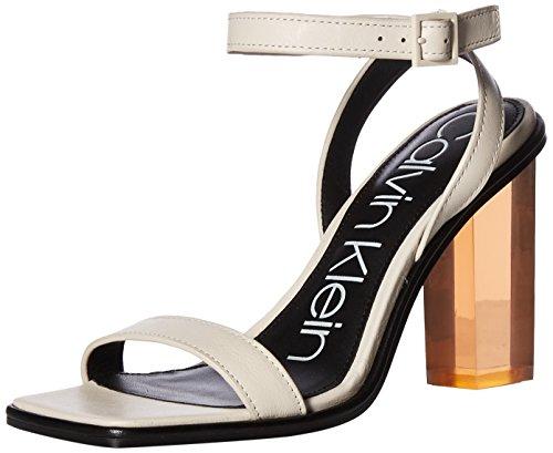 Calvin Klein Women's Kim Heeled Sandal, Soft White, 6 Medium US