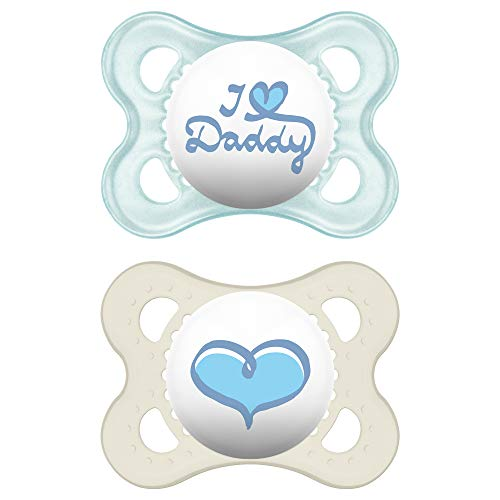 MAM Pacifiers, Baby Pacifier 0-6 Months, Best Pacifier for Breastfed Babies, I Love Daddy Design Collection, Boy, 2-Count