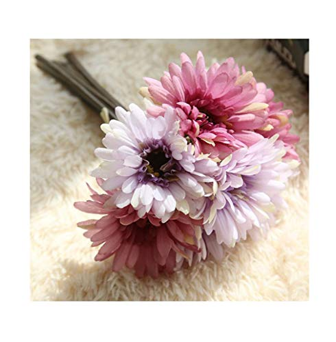Artfen Artificial Gerbera Flower Artificial Daisy Flowers Bride Bridesmaid Holding Flowers 7 Stems Silk Daisies Flower Wedding Bouquet Living Room Office Party Garden DIY Decoration -