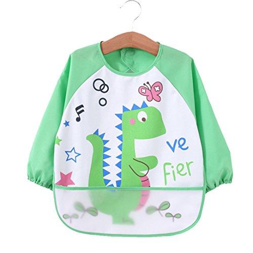 [2 pack] Baby bibs with pocket,Waterproof sleeved bib,100% polyester fiber Bibs for Teething Feeding Baby_CLRST5q by AaBbDd (Image #2)