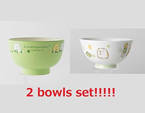 [2 bowls set!!] San-X Sumikko Gurashi Japanese Rice Bowl & Japanese Soup Bowl Set for Kids White & Green by San-X (Image #4)