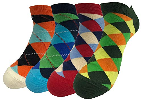 - TOSKIP Men's Ankle Socks Low Cut Geometric Funny Crazy Dress Novelty No Show Argyle Socks 4 Pack