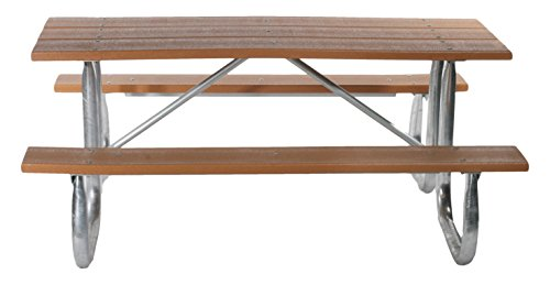 Frog Furnishings Galvanized Frame Picnic Table, 6', Brown