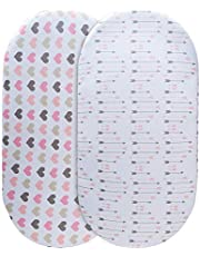 Momcozy Universal Bassinet Sheets Set 2 Pack for Girls, Soft & Breathable 100% C0tt0n, Fitted Elastic Design, Pink Heart & Arrows, Fits Oval Halo, Chicco Lullago, Arms Reach, Ingenuity