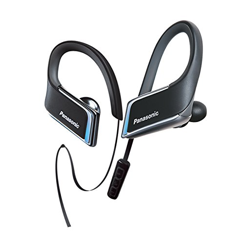 Ipod Panasonic Earbud (Panasonic WINGS Wireless Bluetooth In Ear Earbuds Sport Headphones with Mic + Controller and Flashing LED's RP-BTS50-K (Jet Black), IPX5 Water Resistant)