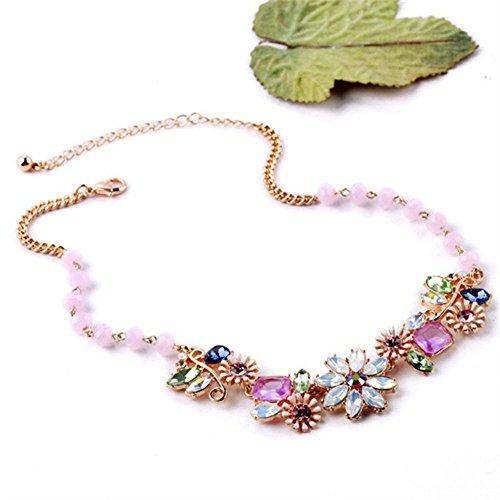 (Luxury Statement Classic Crystal Necklace Vintage Flower Pendant Elegant)