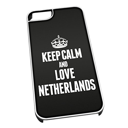 Bianco cover per iPhone 5/5S 2251 nero Keep Calm and Love paesi bassi