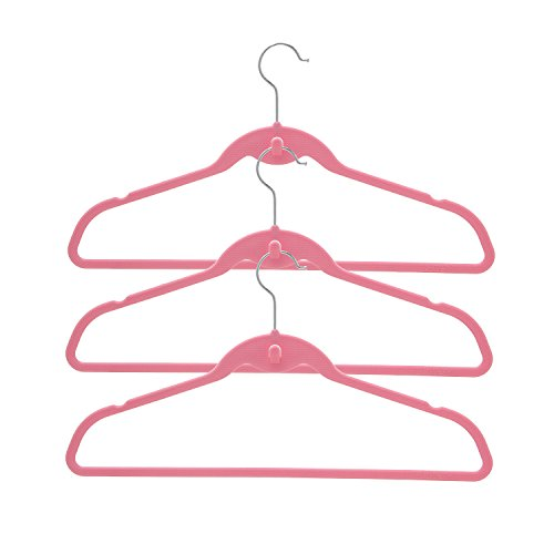 BriaUSA Cascade Hangers Pink Steel Swivel Hooks -Slim, Sturdy Saves You Extra Space - Set of 10