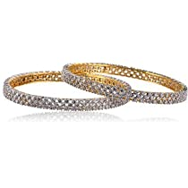 MGold Beautiful Cz Stone Studded Gold Plated Designer Bangle at amazon