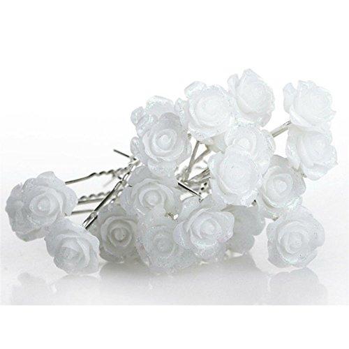 - AKOAK 20 Pcs Bridal Wedding Hair Pins, White Rose Flower Hair Pins