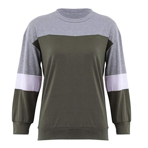Tops Couleur T Vert Splcing Chemisier Manches Femme Longues Bringbring Shirt Sweat Shirt XxqaawHY